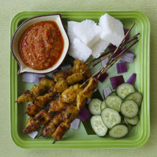 Susan Jung's recipes for chicken satay with peanut sauce .