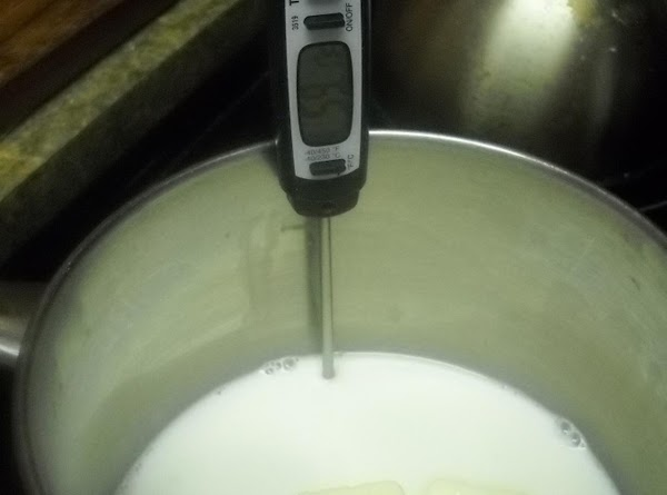 In a medium sauce pan heat milk along with the 3 tablespoons of butter....