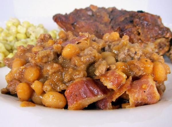 Baked Beans: With Hamburger, Sausage And Bacon Recipe