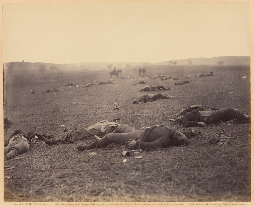 A Harvest of Death, Gettysburg, Pennsylvania (Main View (full view, includes writing below print))