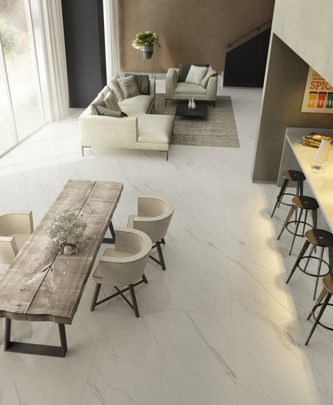 Living space with white marble-look tile flooring