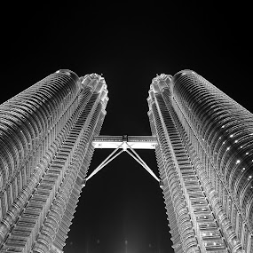 Twin towers by Akbar Ali Asif - Black & White Buildings & Architecture ( kl twin towers, skyscraper, black and white, modern buildings, buildings, twin towers, architectural detail, architecture )