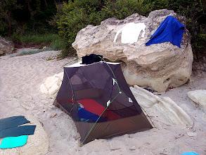 Photo: Este a homokban. A sátor tetejét fel sem teszem.