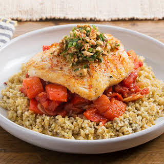 Basque-Style Cod with Sweet Pepper-Tomato Sauce & Freekeh.