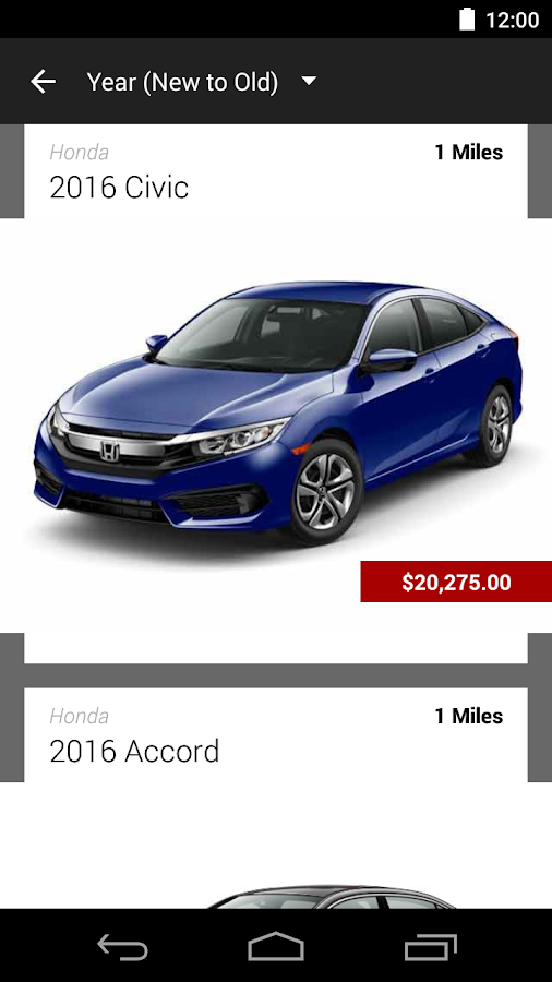Hillside Honda DealerApp- screenshot