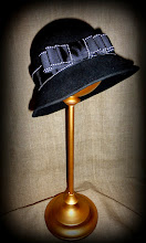 Photo: <KAPELUXE> Unique-Chique Hats by Luba Bilash ART & ADORNMENT  Midnight black wool felt fedora base; black & white grosgrain ribbon & bow 360 degree possibilities. Can also be worn on an angle. Size L - 56 cm/22 in $60