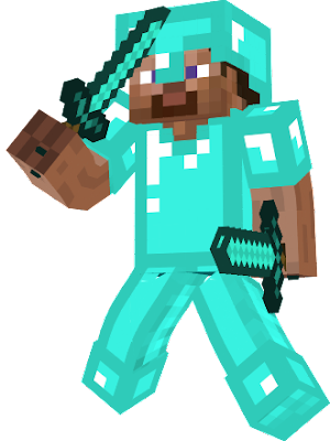 It is Steve when he killed the Ender Dragon and he is back with Diamond Armour and Tools