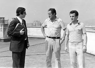 Photo: Sabino Barinaga, entrenador del REAL OVIEDO en los años 70 y Marianin, delantero del club asturiano, con Amado Moreno, en la capital del Principado