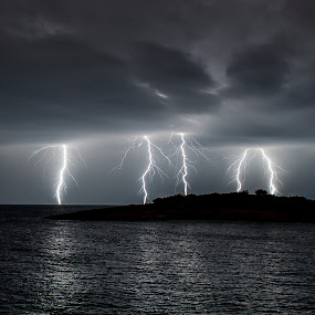 Autumn storm by Matic Cankar - Landscapes Weather ( lightning, autumn, sea, october, storms, storm, island )