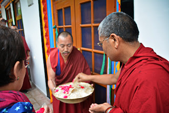 Photo: An honorable presence on the Grand Opening Day of the Sowa Rigpa Medical Institute was His Eminence Ponlob Trinley Nyima Rinpoche, Headmaster of the Dialectic School of Menri Monastery.