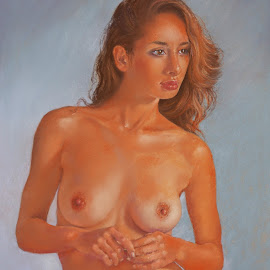 Ayesha by Margaret Merry - Painting All Painting ( pastel, female, art, nude. figure study, painting, drawing, figurative art )