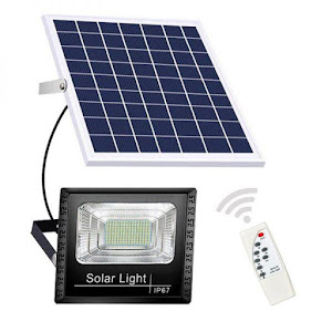 Proiector solar 150 W, 125 LED, cu panou solar si telecomanda