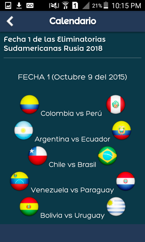 Calendario Eliminatorias 2018- screenshot