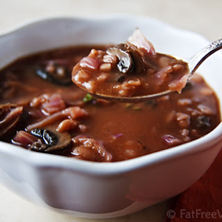 Mushroom-Barley Soup with Cannellini Beans and Cabbage.