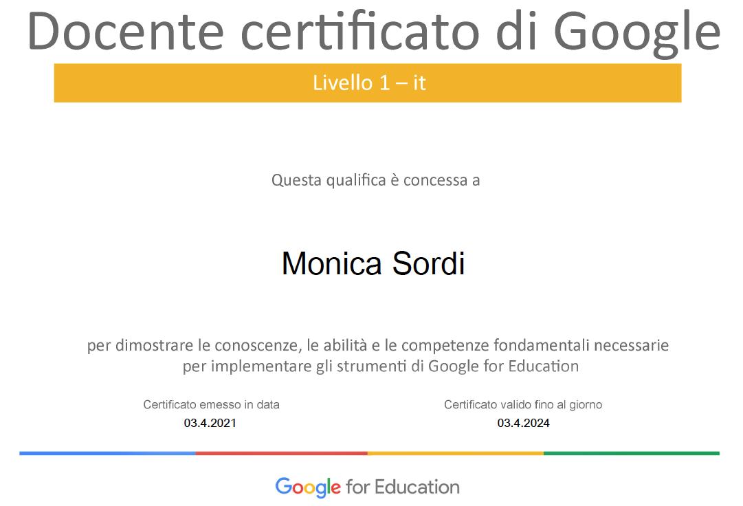 attestato docente certificato google