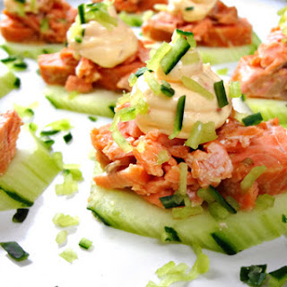 Asian Barbecued Salmon Canapes.