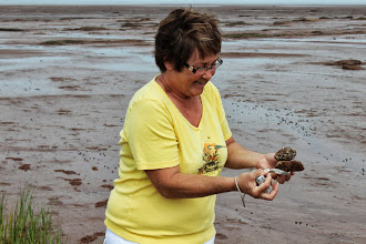 Photo: MaryAnn got some souvenirs from the low tide at Grand Pre.