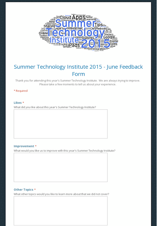 Summer Technology Institute 2015 - June Feedback Form