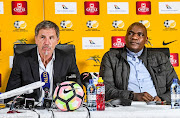 Stuart Baxter and Molefi Ntseki (coaches) of Bafana Bafana and lower national teams respectively during the South African national soccer team press conference at SAFA House on May 02, 2019 in Johannesburg, South Africa.