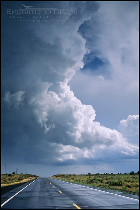 Photo:  Thunderstorm clouds (cumulonimbus) over road in the Coconino Plateau,  near the Grand Canyon, ARIZONA
