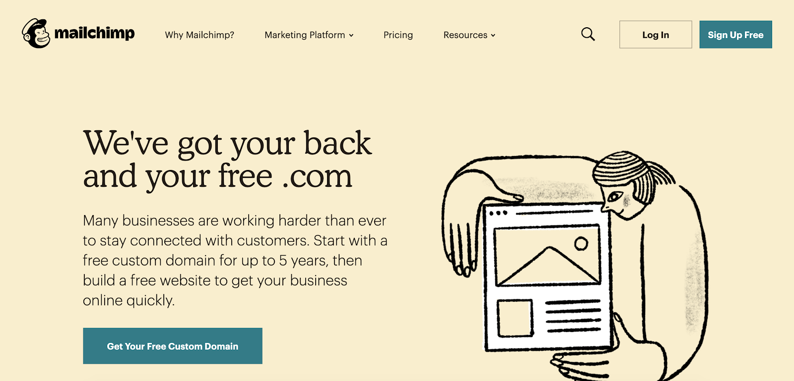 Frontpage of Mailchimp
