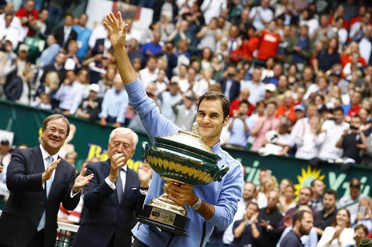Roger Federer after the men's singles match Roger Federer of Suiss against Alexander Zverev of Germany on Day 9 of the Gerry Weber Open 2017 at Gerry Weber Stadium on June 25, 2017 in Halle, Germany.