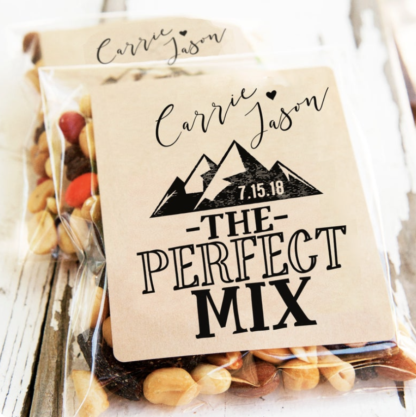 snack mix wedding favor