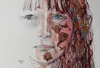 "Photo: Mirrorless Self-Portrait Series, sketch 1-detail, 28.5cm x 42cm, 11 1/4"" x 16 1/2"", graphite, watercolour pencils, Cretacolor aquastics, copper leaf in a Moleskine A3 Sketchbook."