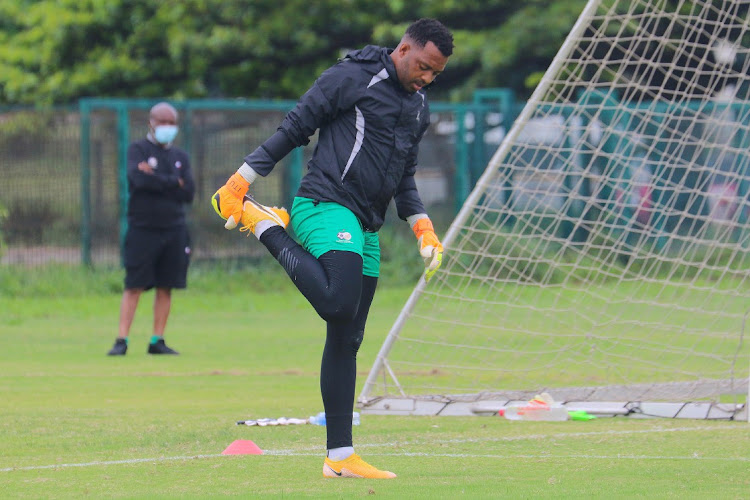 Itumeleng Khune during a Bafana Bafana training session at Peoples Park, Moses Mabhida Stadium on November 11, 2020 in Durban.