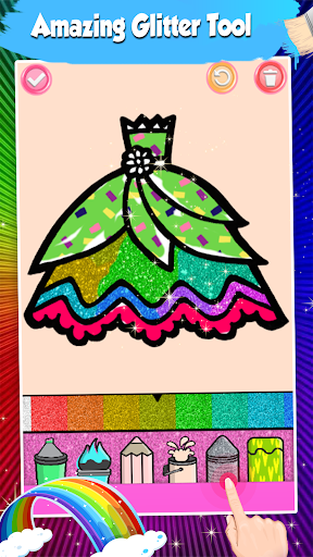 Glitter Dresses Coloring Book For Kids screenshot 3