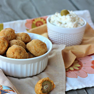 Cheddar Breaded Stuffed Olives and Dipping Spread