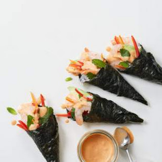Shrimp Hand Rolls with Coconut-Curry Dipping Sauce