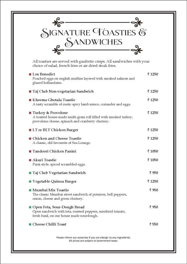 Sea Lounge - The Taj Mahal Palace menu 10