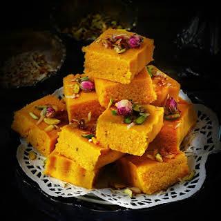 Kesar and Mawa Kopra Pak / Topra Pak - Indian Style coconut fudge.