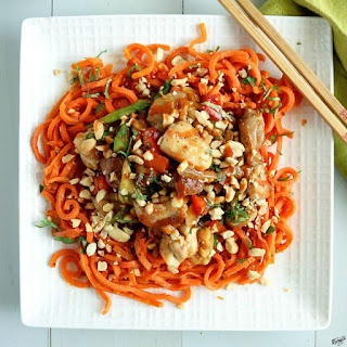 Thai Peanut Chicken with Carrot Spirals.