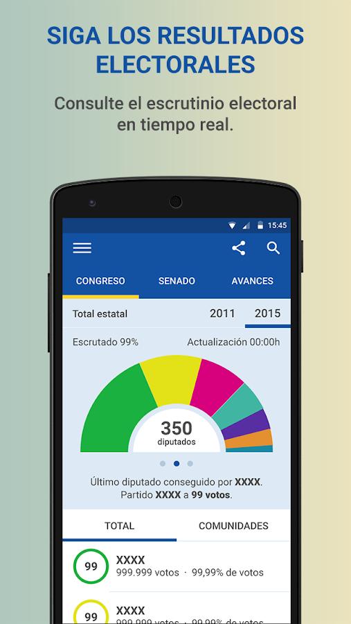Elecciones generales 2015 android apps on google play for Resultados electorales ministerio