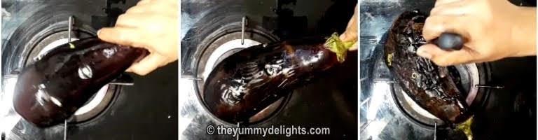 Roasting brinjal over open flame to make baingan ka bharta recipe
