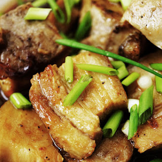STEAMED PORK BELLY WITH ASIAN GLAZED SAUCE.