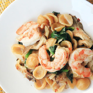 One-Skillet Orecchiette with Shrimp, Spinach, and Mushrooms Recipe