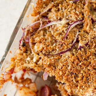 Vegetable Bake With Crispy Cheesy Crumb Topping.