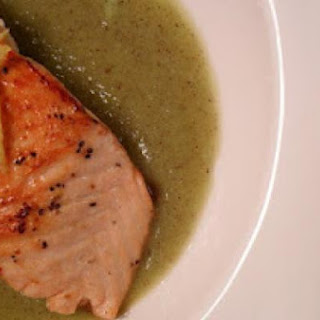 Salmon on Kiwi & Lemon Puree