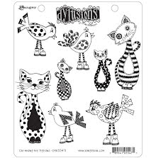 Dylusions Cling Stamps 8.5X7 - Cat Among Pigeons