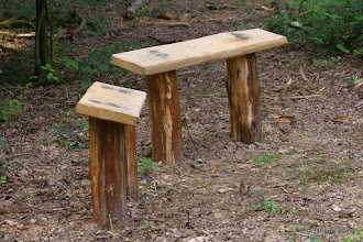 Photo: Perches in the big glade - made on a task day using oak (for top) and chestnut (for legs) from our woods