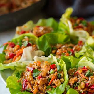 Asian Lentil Lettuce Wraps.