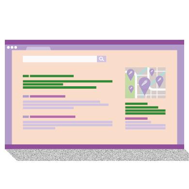 Page de résultats de recherche, avec mise en évidence des résultats affichés en haut à gauche et à droite