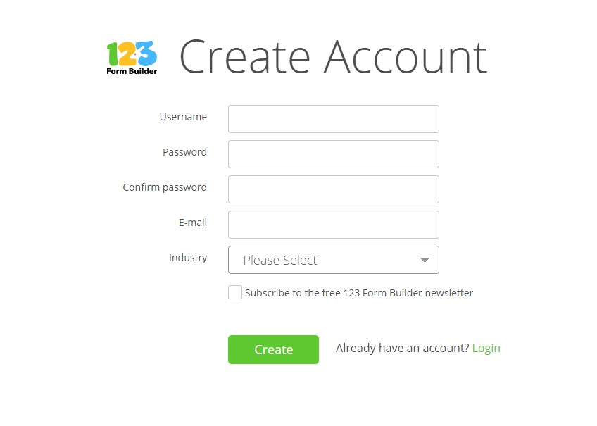 Sign up for a 123ContactForm account
