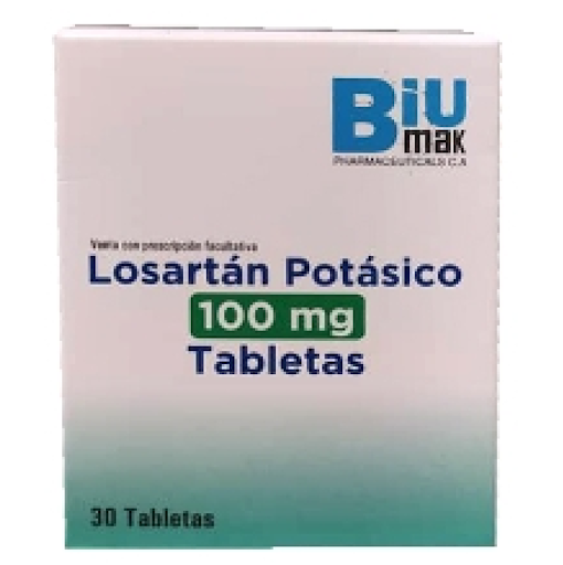 losartan potasico 100mg 30tabletas biumak pharmaceuticals