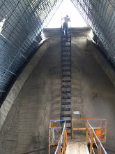 Photo: A ladder from the catwalk up the base of the small rear tower