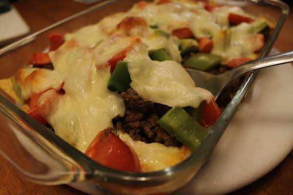 Flavorful Ground Beef Covered In Cheese And Veggies.