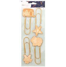 Dear Lizzy Wood Veneer Icon Paper Clips 4/Pkg - Star Gazer